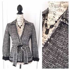 Ann Taylor Tweed Tie Waist Blazer Organza Black